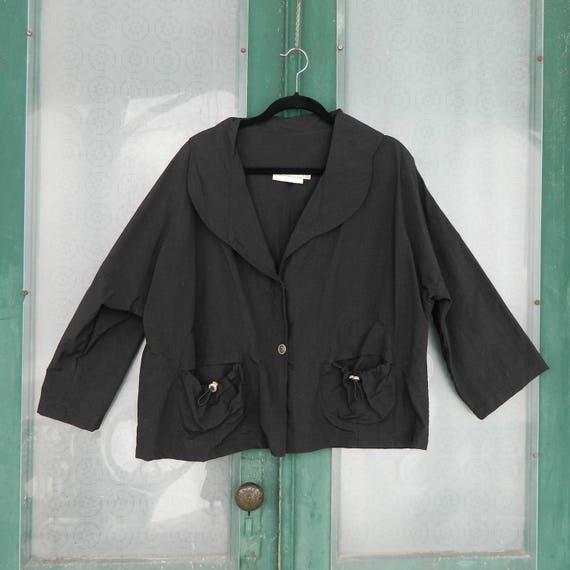 Eleven Stitch Design Jacket with Pockets -OS- Black 100% Nylon