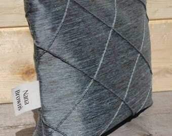 Make up Bag, Zipper Pouch - Small - Blue Grey Pintuck