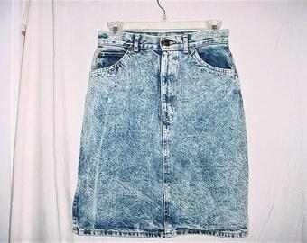 Vintage 80s Stone Acid Wash Denim Skirt Jean 11 High Waist Chic
