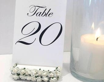 15% off ends at 5pm Flower Table Number Holders + White Flower Table Number Holders + Floral Wedding (Set of 5)