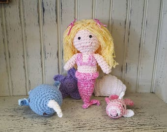 Mermaid Doll Set - Crocheted,kids toy, stuffed toy, Amigurumi, Mermaid doll, Sea shells, Birthday