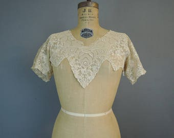 Vintage 1920s Lace Dress Yoke, Neckline and Sleeves, As Is, Small