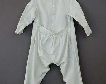 20% Sale - Dated 1884 Boy's Victorian Union Suit, Vintage One Piece Cotton Underwear with Drop Seat, with name and date 1880s