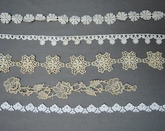5 Pieces of Vintage Lace, Floral Lace Dress Trim Remnant, Cotton Trim or Appliques,  1950s older