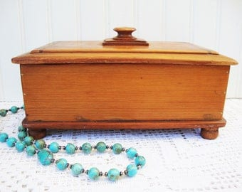 Vintage Wood Box With Lid For Storage Jewelry