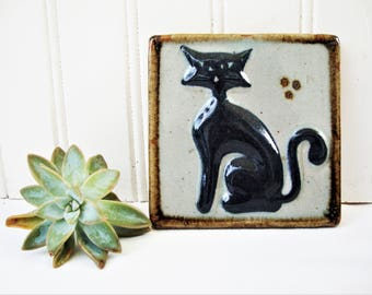 vintage cat mexican tile stoneware pottery wall plaque picture