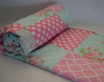 Roses Floral Baby Quilted Blanket - Flowers, Polka Dots, Paisley, Rose, Pink, Aqua Blue, Baby Girl, Nursery - MADE TO ORDER