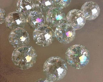16mm Beautiful Iridescent Clear Crackled Iridized Bubbles Fairy Glass Marbles 20 pieces Cracked