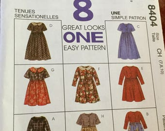 McCalls 8404 Girls Dress in 2 Lengths and 8 Versions, Size 7-10, Uncut