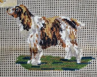 "Spaniel Setter Dog - Petitpoint Vintage Bucilla  Preworked Needlepoint Canvas  11"" X 10-1/2"" - Small for Pillow Purse, etc."
