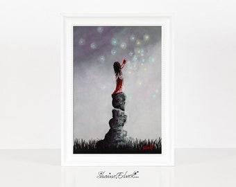 Little Garnet Fairy - Fairy Art Prints - Miniature Prints - January Birthday Gift - Wall Art - Art Prints - Heart Pictures - Gift For Teens