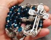 SUPER SALE Blue Aqua Rosary Stations of the Cross Silver cable by HeartFeltRosaries  d