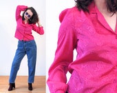 80s Hot Pink Blouse M, Silky Floral Weave Fuchsia Shimmery Iridescent Vintage Bright Shirt, Medium Petite