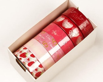 STOREWIDE SALE 6 piece packs 10 Yards of Colorful Love and Hearts Pattern Washi Tape Assortment