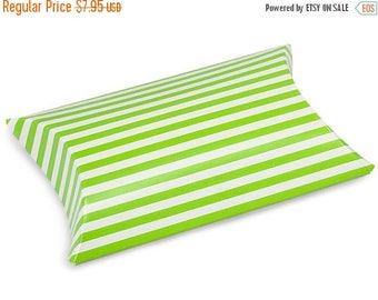 STOREWIDE SALE 12 Pack Green and White Stripe Paper Pillow Boxes 3 X 3.5 X 1 Inch Size Great Packaging for Gifts, Party Favors, and More