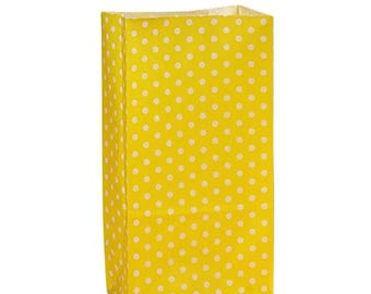 New Years Sale 25 pack yellow and white Polka Dot patterned SOS Style 3.65 X 2.25 X 7 Inch Bags