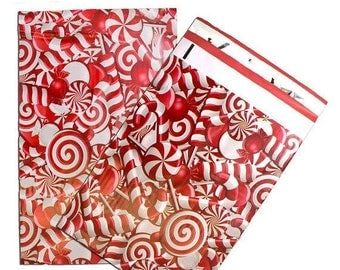 New Years Sale 25 Pack Tear Proof Candy Cane Design Plastic Poly Mailing Self Stick Closing Envelopes  6X9 Inches