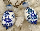 Lilygrace Blue and White Handpainted Willow Pattern Earrings