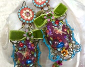 Lilygrace Damson, Lime and Blue Cardinal Bird Cameo earrings with Vintage Rhinestones and Vintage Beads