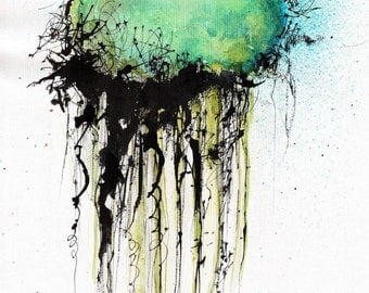 Ink painting on canvas 8x12 in A4 - abstract jellyfish - teal