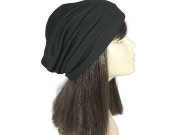 FREE SHIPPING Reversible Mens Black Rib Knit Hat Lightweight Rib Black Slouchy Hat Womens Slouchy Hat Rib Knit Slouchy Beanies Hats Custom