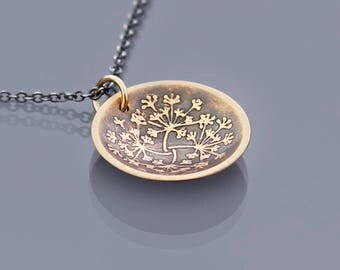 Cupped 14K Gold Queen Anne's Lace Pendant, Gold and Silver Mixed Metal Necklace, botanical necklace, dainty necklace