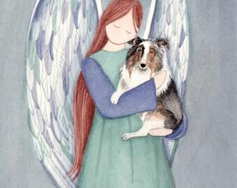Blue merle shetland sheepdog (sheltie) with angel / Lynch signed folk art print