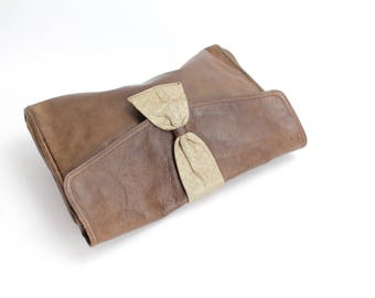 Vintage 1970s Distressed Leather Clutch | Rustic Embossed Leather Clutch Bag | Large Brown Leather Envelope Clutch with Patina