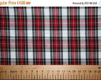 SUMMER SALE Dress Stewart style tartan cotton fabric 0.50 metre