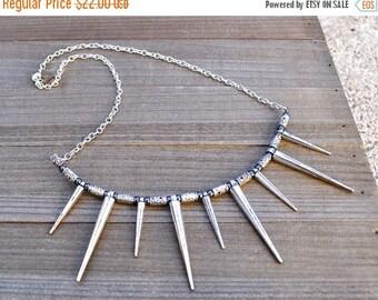 ON SALE Spike Necklace / Silver Spike Necklace / Layering Necklace / Minimal Necklace / Gift Women / Boho Necklace / Statement Necklace