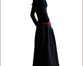 SALE - RED POCKET linen Maxi Skirt in black / idea2lifestyle boho skirt (Q1001)