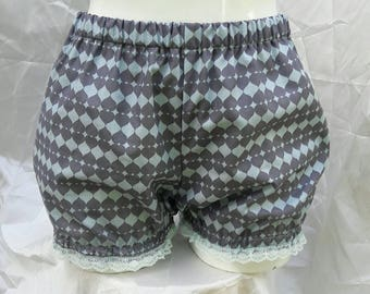 Gray mint heart harlequin micro mini bloomers adult women