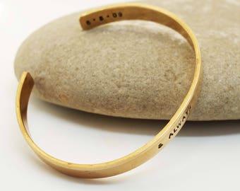 Bronze Anniversary Bracelet, Bronze Cuff, Personalized Cuff, 8 Year Anniversary Gift, & Always Bracelet, Ladies Bronze Bracelet