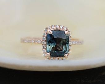 Green sapphire engagement ring. 2.25ct emerald cut sage green sapphire ring diamond ring 14k Rose gold ring by Eidelprecious