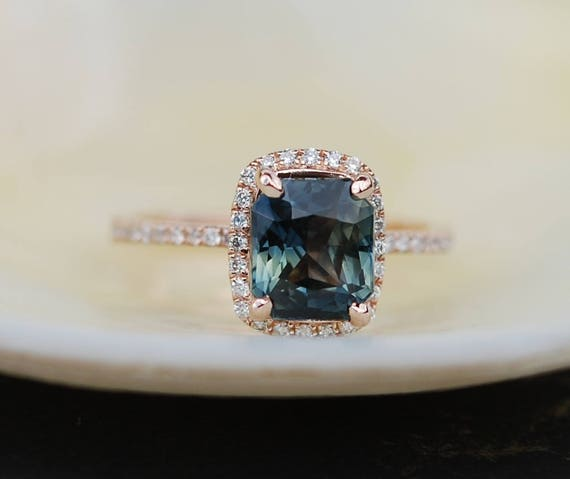 Green sapphire engagement ring. 2.25ct emerald cut sage green sapphire ring diamond ring 14k Rose gold ring by Eidelprecious