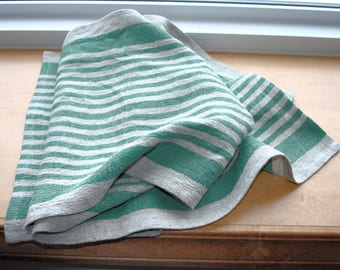 Rustic Linen Table Runner Table Linens Narrow Striped Green Beige Prewashed Heavy Linen