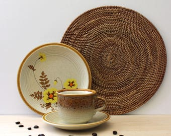 Nature Song. Vintage 1970s Mikasa cup, saucer and plate breakfast set, rustic stoneware design.
