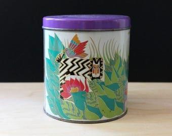 Jungle Cats. 1980s Laurel Burch round metal tin.