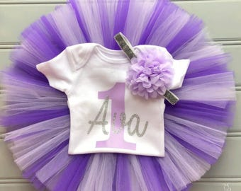 Personalized Lavender and SIlver Cake Smash Outfit Girl, First Birthday Outfit Girl, Lavender and Purple 1st Birthday Outfit Girl Tutu Skirt