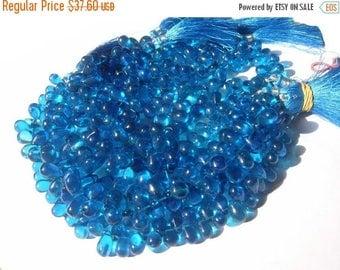 50% Off Sale 1/2 Strand - Exteremly Beautiful Neon Blue Mystic Quartz Smooth Polished Tear Drop Briolettes 8x6 - 9x7mm approx
