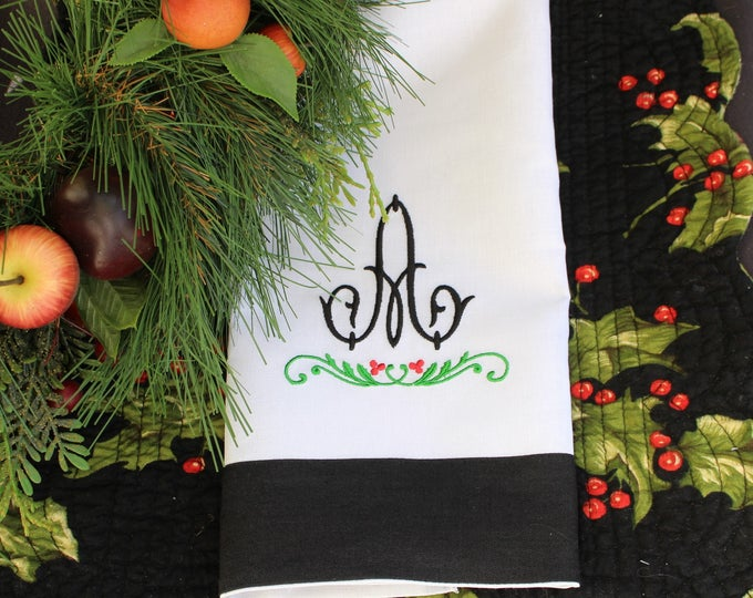 Set of Two Sophisticated Black and White Linen Tea Towels Monogrammed, Hostess Gift, Bridal Shower Gift, Bar Towels, Grab Bag Gifts