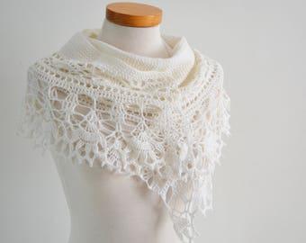 Crochet lace shawl, scarf, lace, White, merino wool