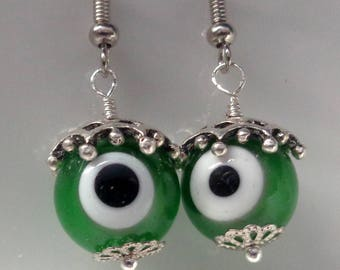 Green Earrings, Evil Eye Earrings, Dangle Earrings Green Evil Eye Earrings, Evil Eye Jewelry  SALE