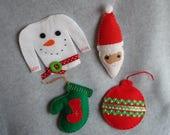 Embroidered Felt Christmas Ornaments OOAK Hand Stitched Ugly Christmas Sweater Stocking Santa Snowman Mitten Felt Ornament Santa Claus