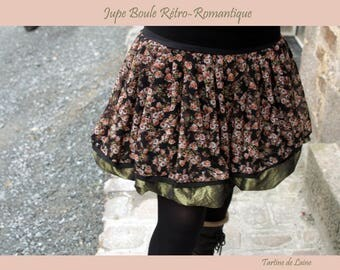 Creating flowers Retro-Vintage ball skirt. Black-Green-coral