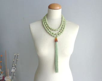 Green tassel necklace multistrand, longer style