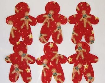 Gingerbread Fabric Applique  Iron On 6 Piece Set