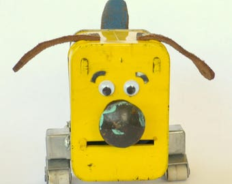 SCRUFFY THE DOGBOT, Assemblage Art Recycled Robot Sculpture Bank