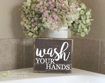 Wash Your Hands Mini Block Wood Sign - Bathroom Decor - Wood Sign - Wooden Signs - Funny Sayings - Quotes - Small MiniBlock M016