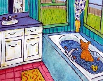 20 % off storewide Orange Cat Taking a Bath Animal Art Tile Coaster